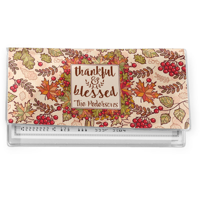 Thankful & Blessed Vinyl Checkbook Cover (Personalized)