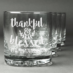 Thankful & Blessed Whiskey Glasses (Set of 4) (Personalized)