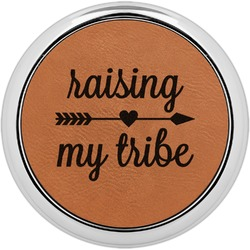 Tribe Quotes Leatherette Round Coaster w/ Silver Edge - Single or Set (Personalized)