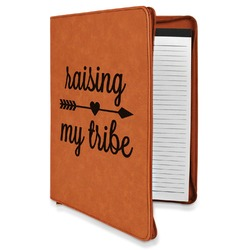 Tribe Quotes Leatherette Zipper Portfolio with Notepad (Personalized)