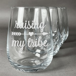 Tribe Quotes Wine Glasses (Stemless- Set of 4) (Personalized)