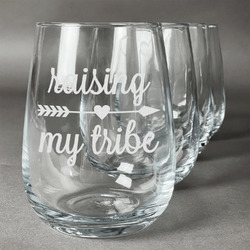 Tribe Quotes Stemless Wine Glasses (Set of 4) (Personalized)