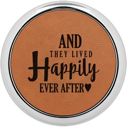 Wedding Quotes and Sayings Leatherette Round Coaster w/ Silver Edge - Single or Set (Personalized)