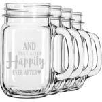 Wedding Quotes and Sayings Mason Jar Mugs (Set of 4) (Personalized)