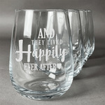 Wedding Quotes and Sayings Stemless Wine Glasses (Set of 4) (Personalized)