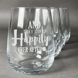 Wedding Quotes and Sayings Wine Glasses (Stemless- Set of 4) (Personalized)