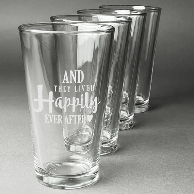 Wedding Quotes and Sayings Beer Glasses (Set of 4) (Personalized)