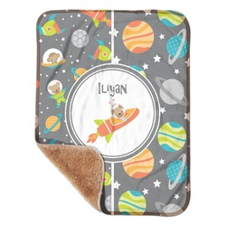 """Space Explorer Sherpa Baby Blanket 30"""" x 40"""" (Personalized)"""