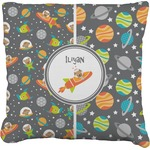 Space Explorer Faux-Linen Throw Pillow (Personalized)