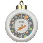 Space Explorer Ceramic Ball Ornament (Personalized)