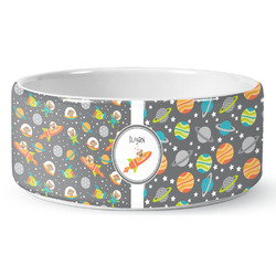 Space Explorer Ceramic Dog Bowl (Personalized)