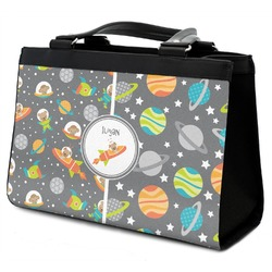 Space Explorer Classic Tote Purse w/ Leather Trim (Personalized)