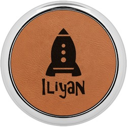 Space Explorer Leatherette Round Coaster w/ Silver Edge - Single or Set (Personalized)