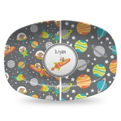 Space Explorer Plastic Platter - Microwave & Oven Safe Composite Polymer (Personalized)