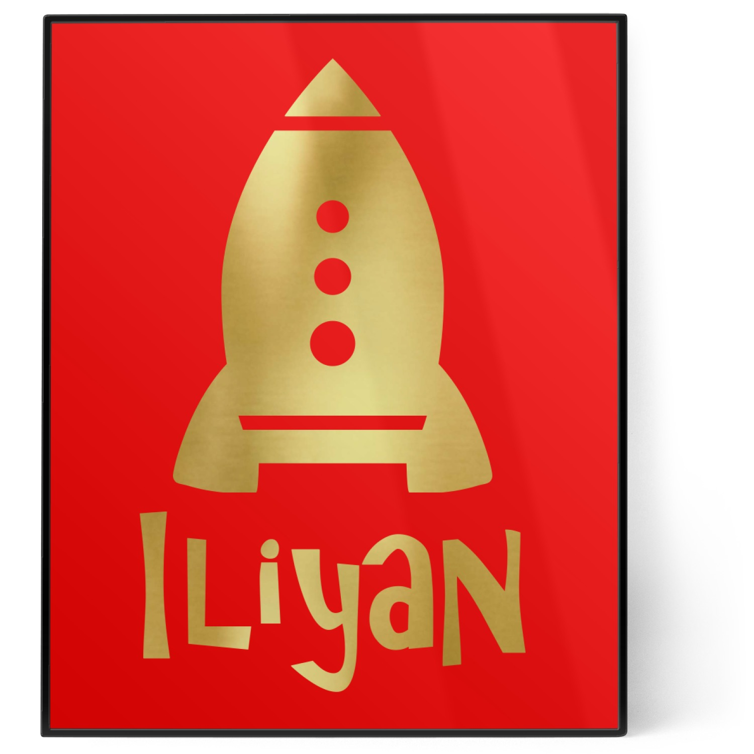 Space Explorer 8x10 Foil Wall Art Red Personalized