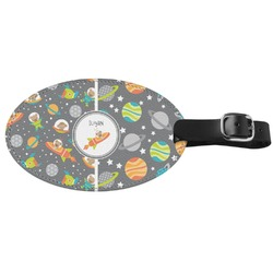 Space Explorer Genuine Leather Luggage Tag (Personalized)