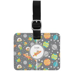 Space Explorer Genuine Leather Rectangular  Luggage Tag (Personalized)