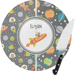 Space Explorer Round Glass Cutting Board (Personalized)