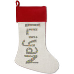 Space Explorer Red Linen Stocking (Personalized)