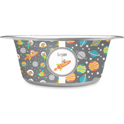 Space Explorer Stainless Steel Dog Bowl (Personalized)