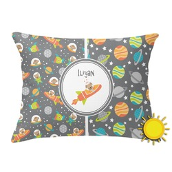 Space Explorer Outdoor Throw Pillow (Rectangular) (Personalized)
