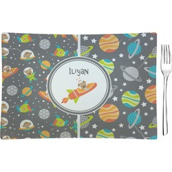 Space Explorer Glass Rectangular Appetizer / Dessert Plate - Single or Set (Personalized)