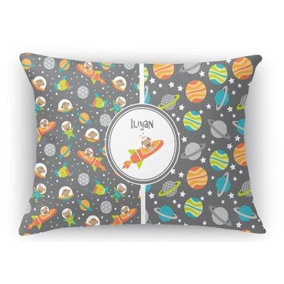 Space Explorer Rectangular Throw Pillow Case (Personalized)