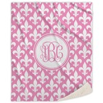 Fleur De Lis Sherpa Throw Blanket (Personalized)
