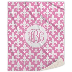 Fleur De Lis Sherpa Throw Blanket (Personalized)