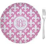"""Fleur De Lis Glass Appetizer / Dessert Plates 8"""" - Single or Set (Personalized)"""