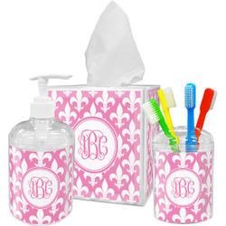 Fleur De Lis Acrylic Bathroom Accessories Set w/ Monogram