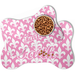 Fleur De Lis Bone Shaped Dog Food Mat (Personalized)