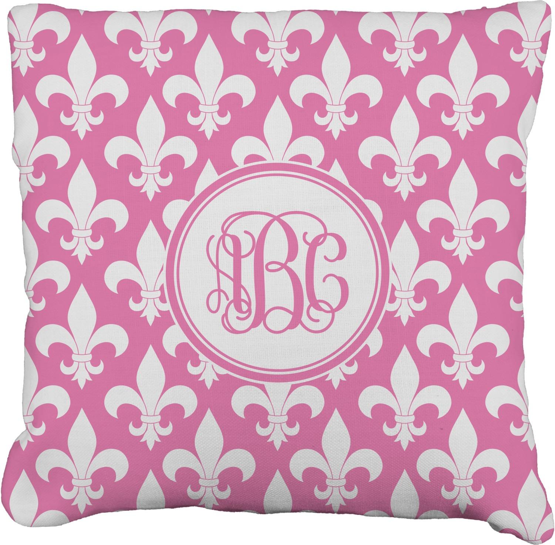 Fleur De Lis Faux Linen Throw Pillow
