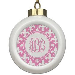 Fleur De Lis Ceramic Ball Ornament (Personalized)