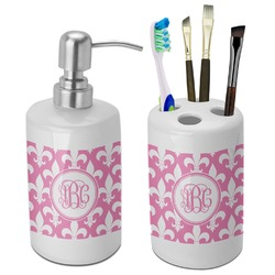 Fleur De Lis Bathroom Accessories Set (Ceramic) (Personalized)
