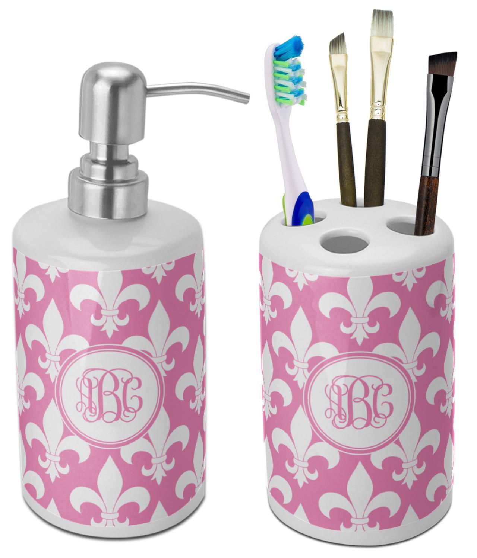 Decorative Fleur de lis Soap Dispenser /& Embroidered Towel Set