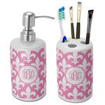 Fleur De Lis Ceramic Bathroom Accessories Set (Personalized)