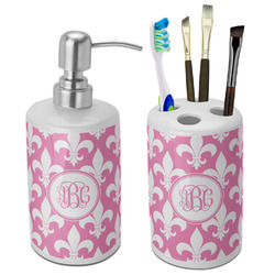 Fleur De Lis Ceramic Bathroom Accessories Set (Personalized)