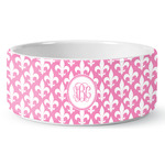 Fleur De Lis Ceramic Pet Bowl (Personalized)