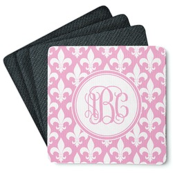 Fleur De Lis Square Rubber Backed Coasters - Set of 4 (Personalized)