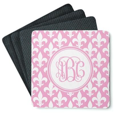 Fleur De Lis 4 Square Coasters - Rubber Backed (Personalized)