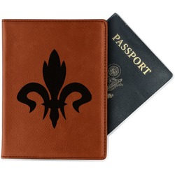 Fleur De Lis Leatherette Passport Holder (Personalized)