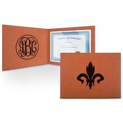 Fleur De Lis Leatherette Certificate Holder (Personalized)