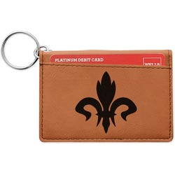 Fleur De Lis Leatherette Keychain ID Holder (Personalized)