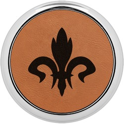 Fleur De Lis Leatherette Round Coaster w/ Silver Edge - Single or Set (Personalized)