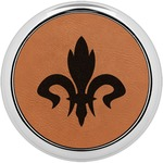Fleur De Lis Leatherette Round Coaster w/ Silver Edge - Single or Set (Personalized)