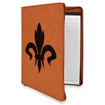 Fleur De Lis Leatherette Zipper Portfolio with Notepad (Personalized)