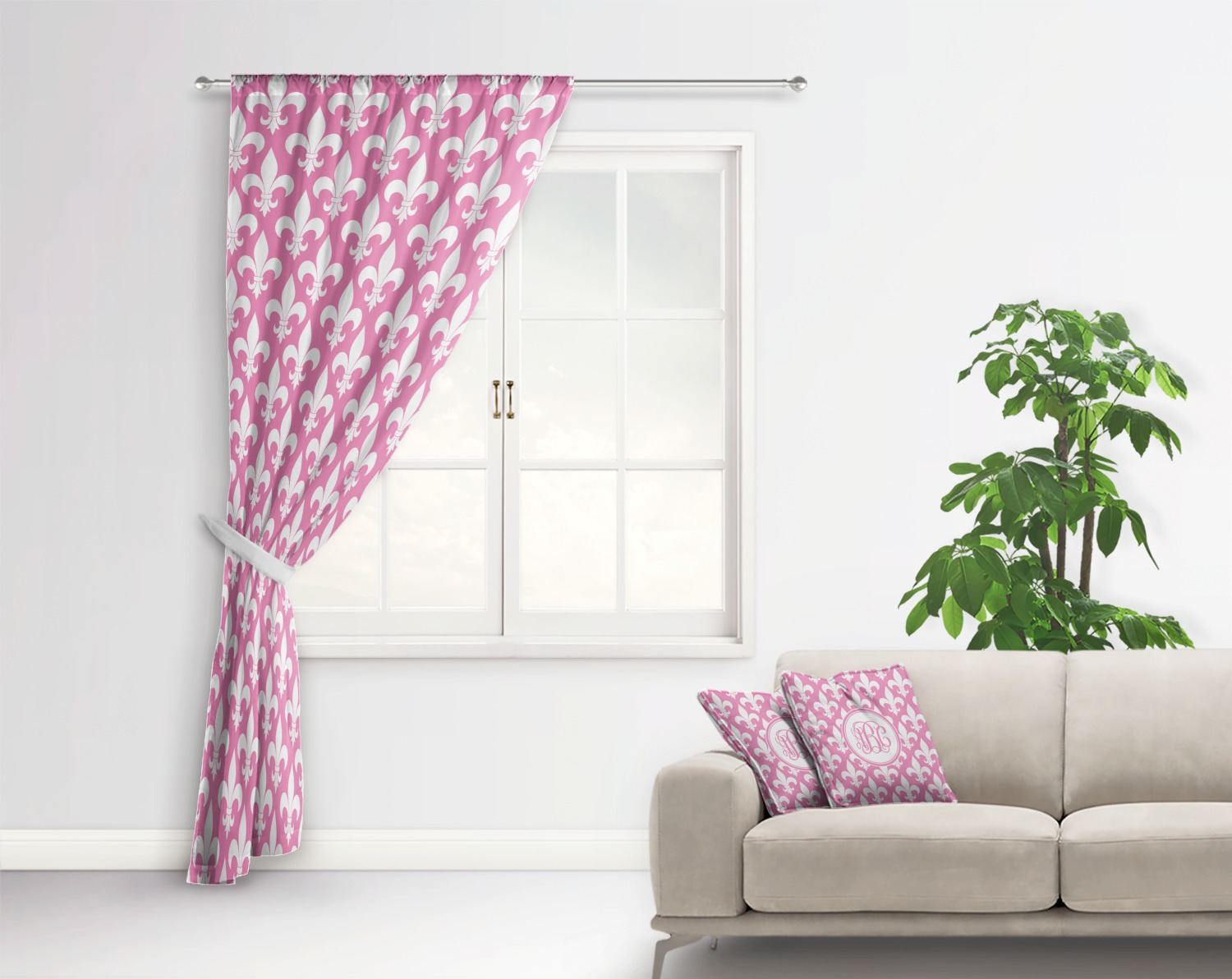 Fleur De Lis Curtain With Window And Rod In Room Matching Pillow