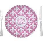 "Fleur De Lis Glass Lunch / Dinner Plates 10"" - Single or Set (Personalized)"