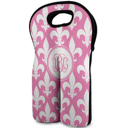 Fleur De Lis Wine Tote Bag (2 Bottles) (Personalized)